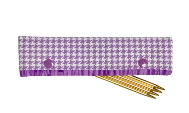 Knitting Needle Cozy - Project Keeper - Purple Happy Houndstooth - Beachside Knits N Quilts