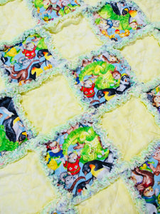 Stroller Rag Quilt Zoo Animals - Beachside Knits N Quilts