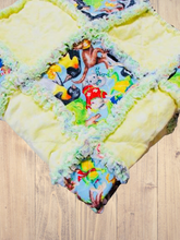 Load image into Gallery viewer, Stroller Rag Quilt Zoo Animals - Beachside Knits N Quilts