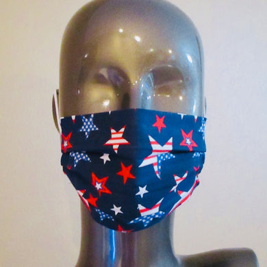 Pleated Face Mask with Adjustable Elastic - Americana Patriotic Stars Dark Blue - Child Size