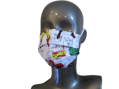 Pleated Face Mask with Adjustable Elastic - Marvel Super Hero - Child Size
