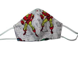 Fitted Face Mask with Adjustable Elastic - Marvel Super Hero - Child Size