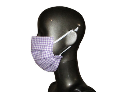 Pleated Face Mask with Adjustable Straps - Lilac Houndstooth