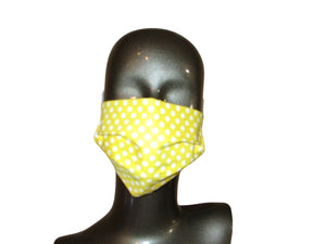Pleated Face Mask with Adjustable Straps - Yellow Polka Dot