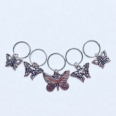 Butterflies - Knitting Stitch Markers - Set of 5
