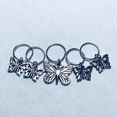 Butterflies 2 - Knitting Stitch Markers - Set of 5