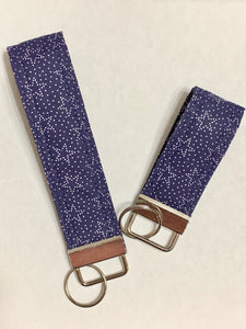 Patriotic Navy Blue Stars Wristlet or Mini Key Chain Key Fob