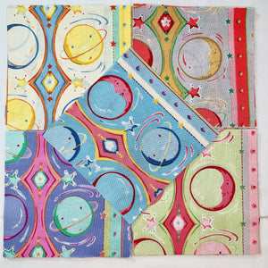 "Moon & Planet Stripe 5"" Charm Squares - Set of 40 - Astro Collection - Felicity Miller"