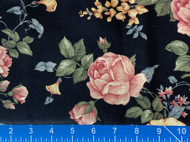 Cotton Fabric - Romantic Rose on Black - End of Bolt - 1 1/4 Yards