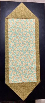 Table Runner or Dresser Scarf - Fall Floral Peach Green
