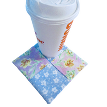 Load image into Gallery viewer, Mini Mug Rug - Extra Large Coaster - Pastel Tulips - Beachside Knits N Quilts