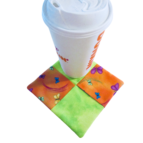 Mini Mug Rug - Extra Large Coaster - Neon Butterflies - Beachside Knits N Quilts