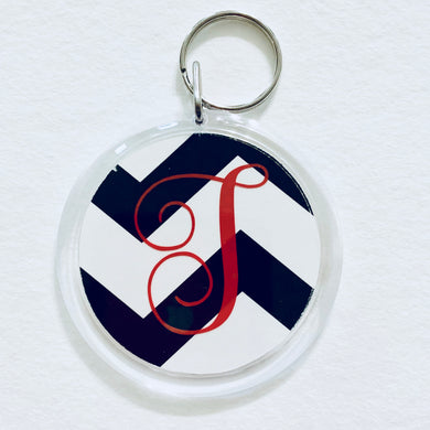 Personalized Round Key Chain - Black White Chevron w Initial - Beachside Knits N Quilts
