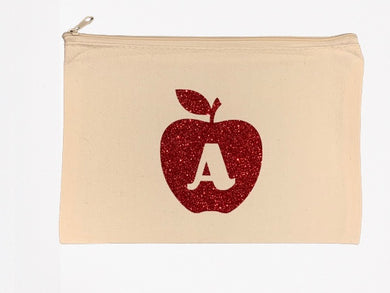 Apple Lover Initial Personalized Canvas Zipper Pouch - Beachside Knits N Quilts