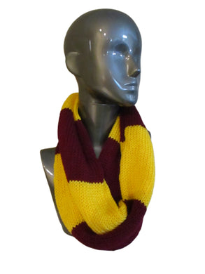 Garnet Gold Rugby Striped Knitted Infinity Scarf | Beachside Knits N Quilts