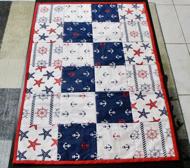 Quilted Table Runner - Nautical Theme - 100% Cotton - Ready to Ship | Beachside Knits N Quilts