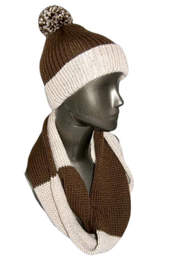 Chocolate Brown and Cream Color Block Infinity Scarf Hat Knitted - Beachside Knits N Quilts
