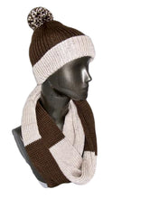 Load image into Gallery viewer, Chocolate Brown and Cream Color Block Infinity Scarf Hat Knitted | Beachside Knits N Quilts