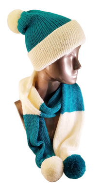 Marina Teal Cream Color Block Scarf Hat Set Knitted - Beachside Knits N Quilts