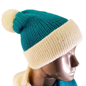 Marina Teal Cream Color Block Scarf Hat Set Knitted | Beachside Knits N Quilts
