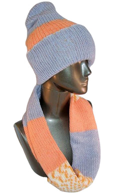 Apricot Sprinkle Knitted Infinity Scarf & Reversible Hat Apricot Gray - Beachside Knits N Quilts