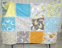 Load image into Gallery viewer, Fox Owl Moon Scrappy I Spy Rag Quilt Crib Size Gender Neutral - Beachside Knits N Quilts