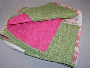 "Pink Green White Floral Heart Quilting Crib Quilt 33"" x 37"" - Beachside Knits N Quilts"