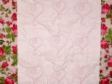 "Load image into Gallery viewer, Pink Green White Floral Heart Quilting Crib Quilt 33"" x 37"" - Beachside Knits N Quilts"