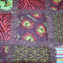 Load image into Gallery viewer, Stroller Rag Quilt Jungle Animals Lions Zebra Stripes  Toddler Infant Baby Reborn - Beachside Knits N Quilts
