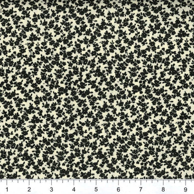 Black Cream Floral Calico 100% Cotton Fabric Quilting | Beachside Knits N Quilts