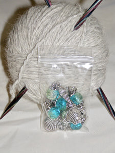 Knitting Stitch Markers Seashells Blue Size 10 6.0 MM Set of 6 - Beachside Knits N Quilts