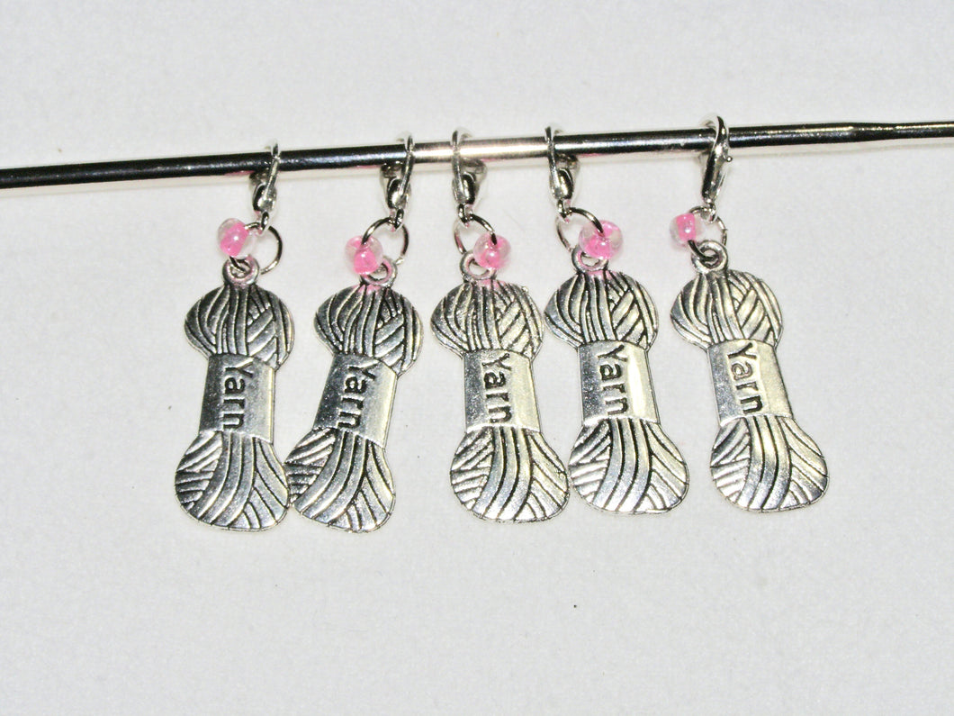 Knitting & Crochet Removable Stitch Markers YARN Charm Pink Beads - Set of 5 | Beachside Knits N Quilts