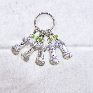 Knitting & Crochet Removable Stitch Markers YARN Charm Green Beads - Set of 5 | Beachside Knits N Quilts