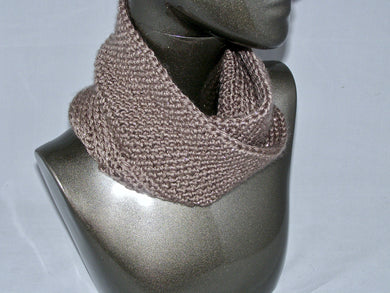 Mobius Cowl Tan Sparkle - Crochet | Beachside Knits N Quilts