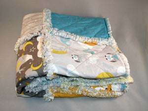 Fox Owl Moon Scrappy I Spy Rag Quilt Crib Size Gender Neutral - Beachside Knits N Quilts