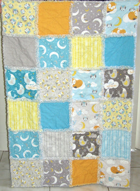 Fox Owl Moon Scrappy I Spy Rag Quilt Crib Size Gender Neutral | Beachside Knits N Quilts