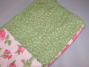 "Pink Green White Floral Heart Quilting Crib Quilt Toddler Infant Adult Lap Quilt 33"" x 37"" 