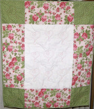 "Load image into Gallery viewer, Pink Green White Floral Heart Quilting Crib Quilt Toddler Infant Adult Lap Quilt 33"" x 37"" 