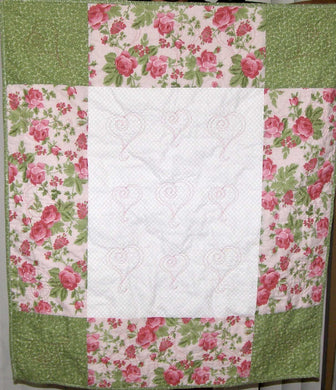 Pink Green White Floral Heart Quilting Crib Quilt 33
