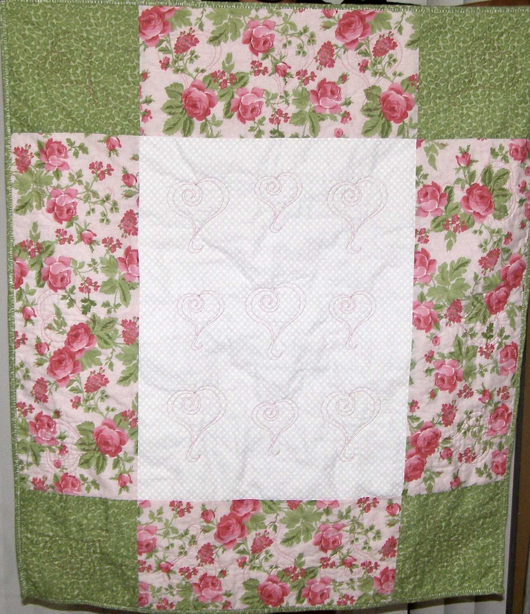 Pink Green White Floral Heart Quilting Crib Quilt Toddler Infant Adult Lap Quilt 33