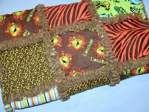 Stroller Rag Quilt Jungle Animals Lions Zebra Stripes  Toddler Infant Baby Reborn - Beachside Knits N Quilts