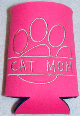 Cat Mom Paw Print Can Cozy Neoprene Embroidered - Beachside Knits N Quilts