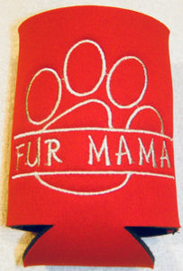 Fur Mama Paw Print Can Cozy Neoprene Embroidered | Beachside Knits N Quilts