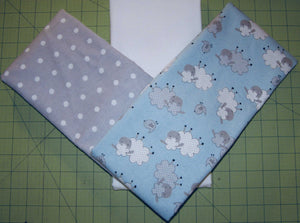 Stroller Rag Quilt Kit & Pattern for Infant, Baby, Toddler - Boy Blue Sheep Gray Polka Dot - Flannel | Beachside Knits N Quilts