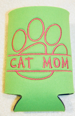 Cat Mom Paw Print Can Cozy Neoprene Embroidered | Beachside Knits N Quilts