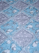 Load image into Gallery viewer, Stroller Rag Quilt Kit & Pattern for Infant, Baby, Toddler - Boy Blue Sheep Gray Polka Dot - Flannel | Beachside Knits N Quilts