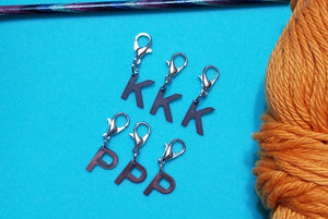 Removable Knitting Stitch Markers - K for Knits - P for Purls - Set of 6 - Lobster Claw Clasp - Beachside Knits N Quilts