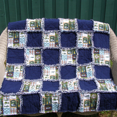 Fishing Navy Blue Flannel Rag Quilt Throw Size or Crib Size 44