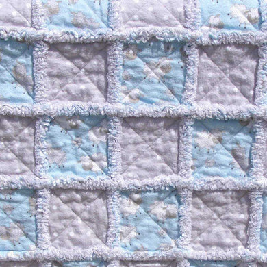 Stroller Rag Quilt Kit & Pattern for Infant, Baby, Toddler - Boy Blue Sheep Gray Polka Dot - Flannel - Beachside Knits N Quilts