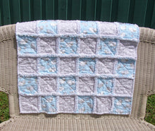 "Load image into Gallery viewer, Blue Sheep Gray Polka Dot Flannel Rag Quilt Toddler Infant Baby Reborn 28"" Square - Beachside Knits N Quilts"
